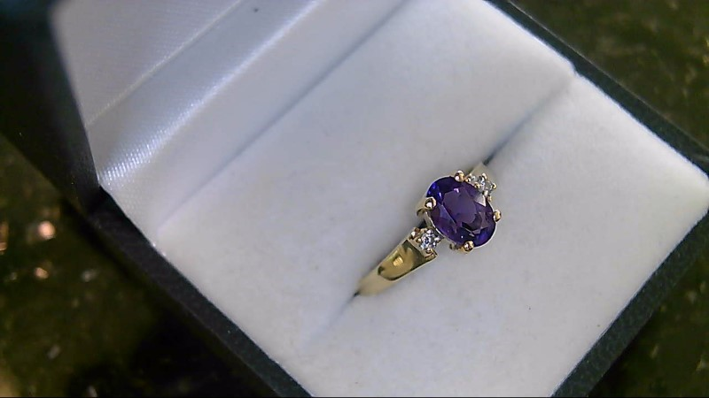 Synthetic Oval Amethyst Lady's Stone & Diamond Ring