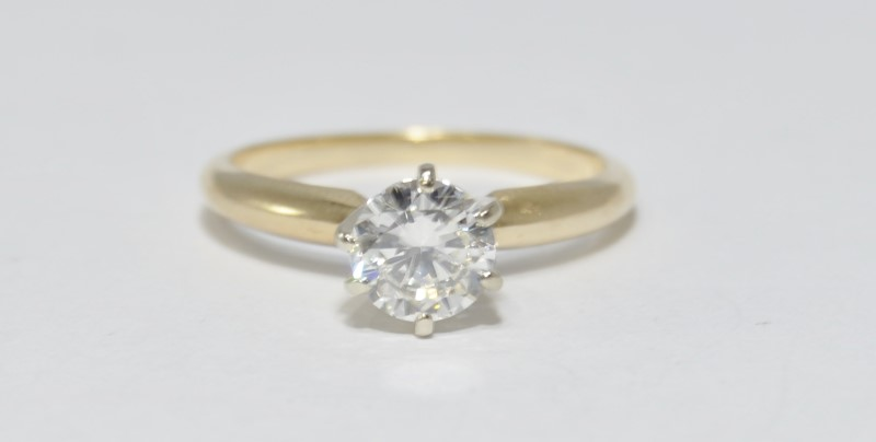 14K Yellow Gold .80ct 6 Prong Set Round Brilliant Diamond Engagement Ring sz 7