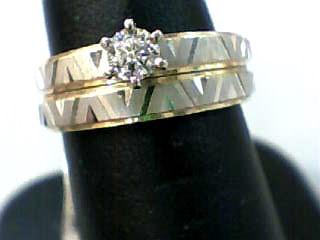 Lady's Diamond Wedding Set .18 CT. 14K 2 Tone Gold 3.3dwt Size:6.3