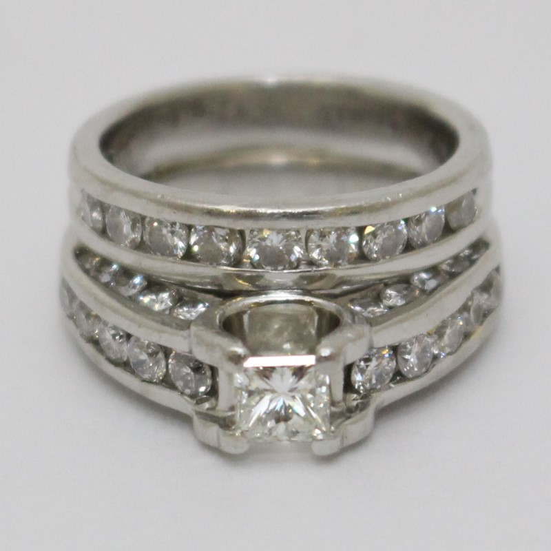 Platinum and Diamond Princess Engagement Ring Wedding Set Size 5