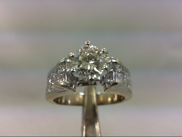Lady's Diamond Engagement Ring 29 Diamonds 3.00 Carat T.W. 18K White Gold 7.63g