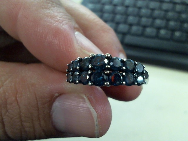 Lady's Diamond Cluster Ring 14 Diamonds .98 Carat T.W. 10K White Gold 3.7g
