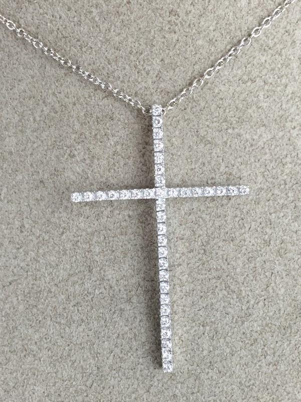 "18"" Diamond Cross Necklace .74 Carat T.W. 14K White Gold 6.63g"