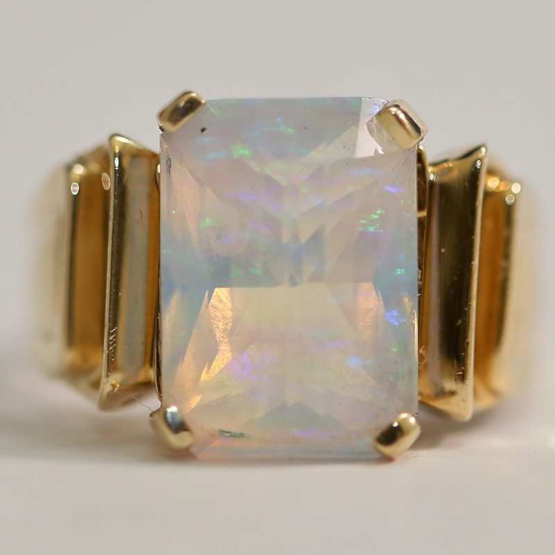 Emerald Cut Opal Ring Set in 10K Yellow Gold Size 7.25