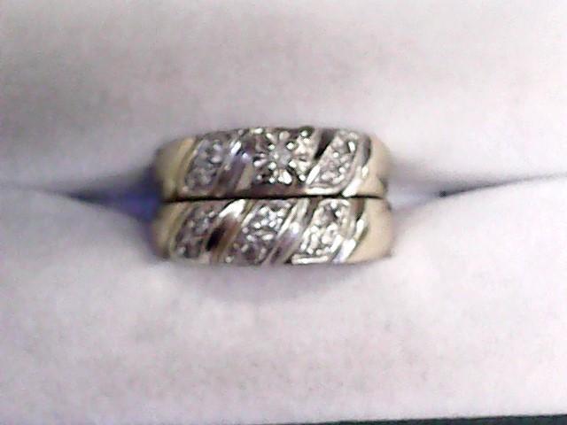 Lady's Diamond Wedding Set 11 Diamonds .13 Carat T.W. 10K Yellow Gold 5.9dwt
