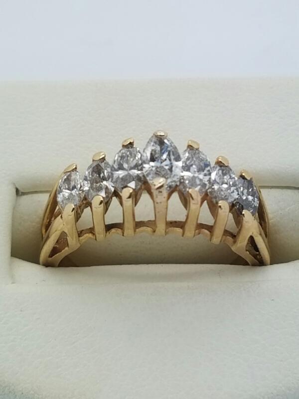 Lady's Diamond Fashion Ring YG 7 Diamonds .75 Carat T.W. 14K Yellow Gold 2.3dwt