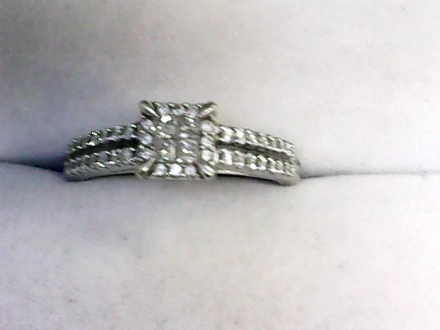 Lady's Diamond Engagement Ring 44 Diamonds .52 Carat T.W. 10K White Gold 2.1dwt