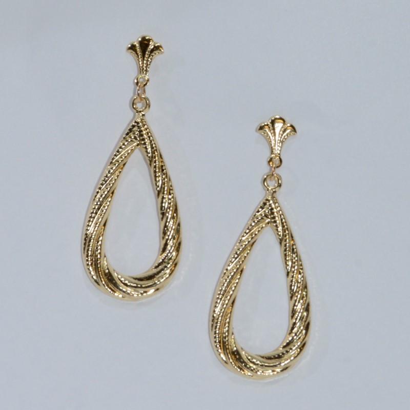 14K Yellow Gold Textured Pear Shaped Drop Dangle Earrings