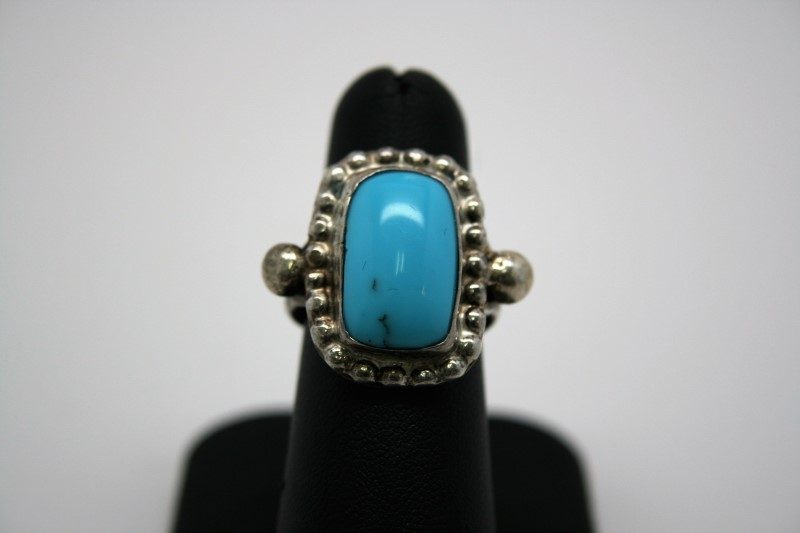 FASHION STYLE TURQUIOSE SILVER RING 6.5
