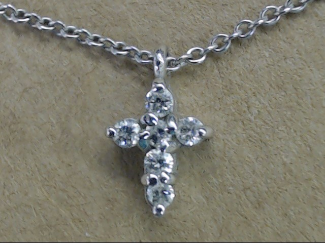 ESTATE SMALL DIAMOND CROSS NECKLACE CHAIN REAL 14K WHITE GOLD 16""