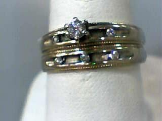 Lady's Diamond Wedding Set 6 Diamonds .20 Carat T.W. 14K Yellow Gold 2.9dwt
