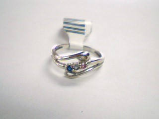 Blue Stone Lady's Stone Ring 10K White Gold 1.8g Size:6.8