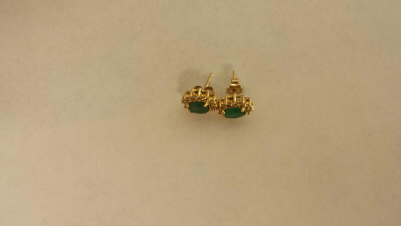 Green Stone Gold-Stone Earrings 14K Yellow Gold 1.1dwt