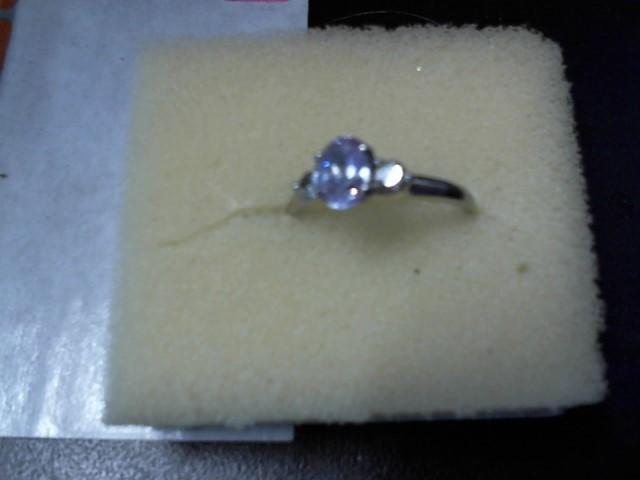 White Stone Lady's Stone Ring 10K Yellow Gold 4.3g