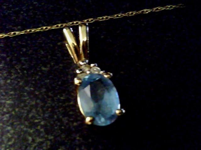 Aquamarine Diamond & Stone Necklace 3 Diamonds .03 Carat T.W. 10K Yellow Gold