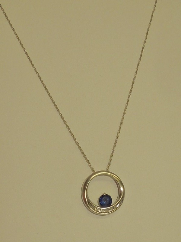 Synthetic Sapphire Diamond & Stone Necklace 5 Diamonds .025 Carat T.W.