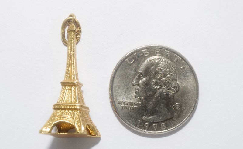 18K Yellow Gold 3D Eiffel Tower Paris, France Charm/Pendant