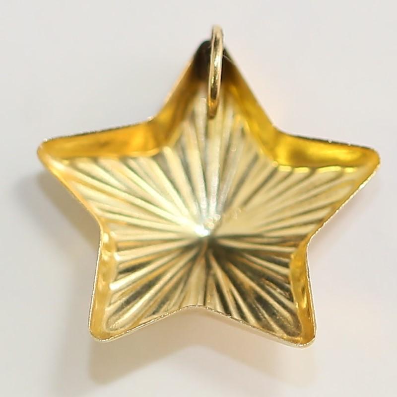 10K Yellow Gold Radiant Textured Star Pendant