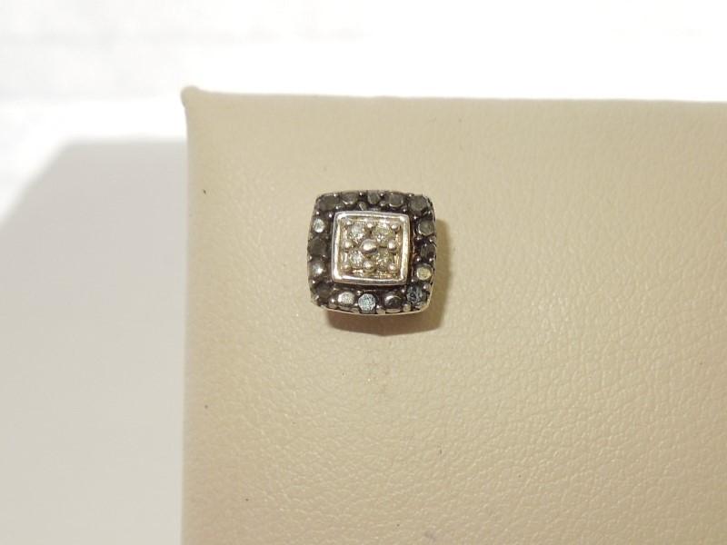 Synthetic Onyx Silver-Diamond & Stone Earrings 4 Diamonds .04 Carat T.W.