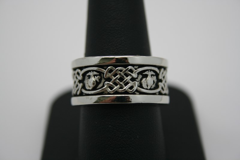 MARINE CORPS EAGLE, GLOBE & ANCHOR W/ CELTIC WEAVE USMC BAND 14K WHITE GOLD 8