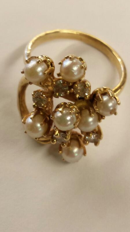 Pearl Lady's Stone Ring 14K Yellow Gold 3.74dwt