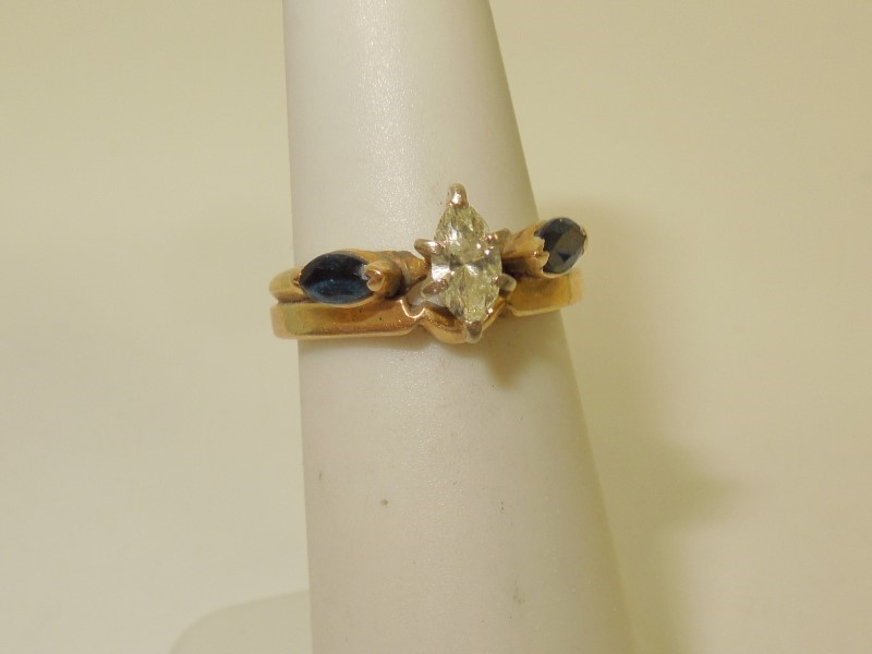 Synthetic Sapphire Lady's Stone & Diamond Ring .30 CT. 14K Yellow Gold 3.8g