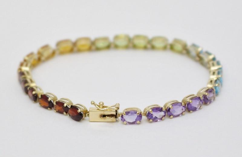 14K Yellow Gold Garnet,Amethyst, Peridot, Citrine, Topaz Rainbow Tennis Bracelet