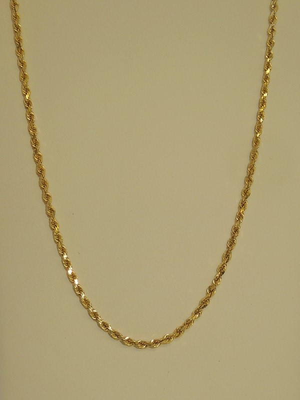 """17"""" Gold Rope Chain 14K Yellow Gold 8.3g"""