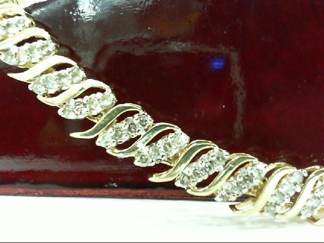 Gold-Diamond Bracelet 164 Diamonds 1.64 Carat T.W. 10K Yellow Gold 8.2g
