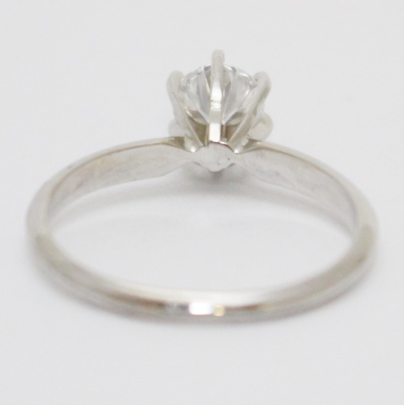 14K White Gold Round Brilliant Cut Diamond Solitaire Engagement Ring Size 7