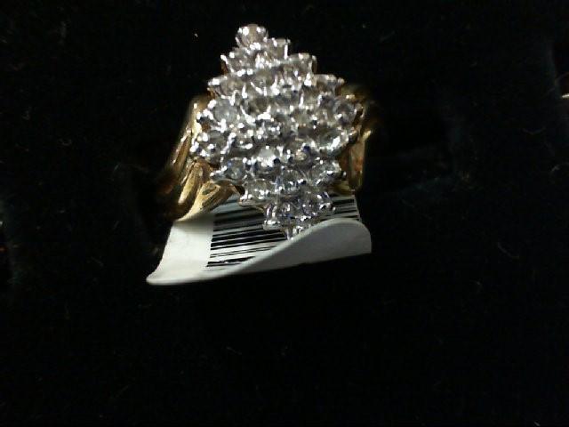Lady's Diamond Cluster Ring 3 Diamonds .03 Carat T.W. 10K Yellow Gold 2.8g