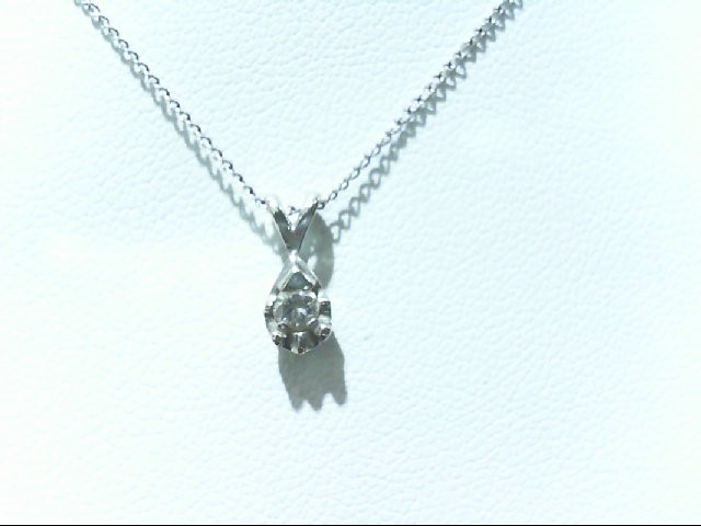 Gold-Diamond Solitaire Pendant .07 CT. 14K White Gold 1.3g