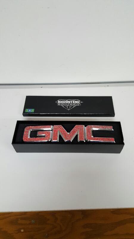 GMC ICED OUT EMZ BLING SUPER SHINE Red Swarovski Crystal Emblem