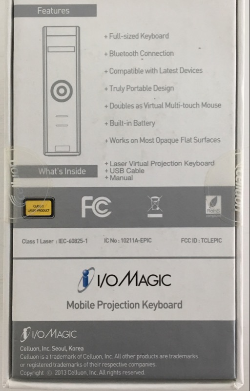 *NEW* Celluon I/O Magictouch Mobile Projection Keyboard IO12K02LKB