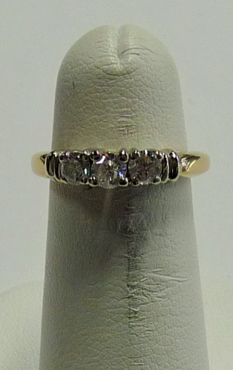 Lady's Diamond Engagement Ring 3 Diamonds .40 Carat T.W. 14K Yellow Gold 1.8dwt