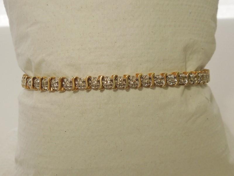 Gold-Diamond Bracelet 48 Diamonds .48 Carat T.W. 10K Yellow Gold 8.1g