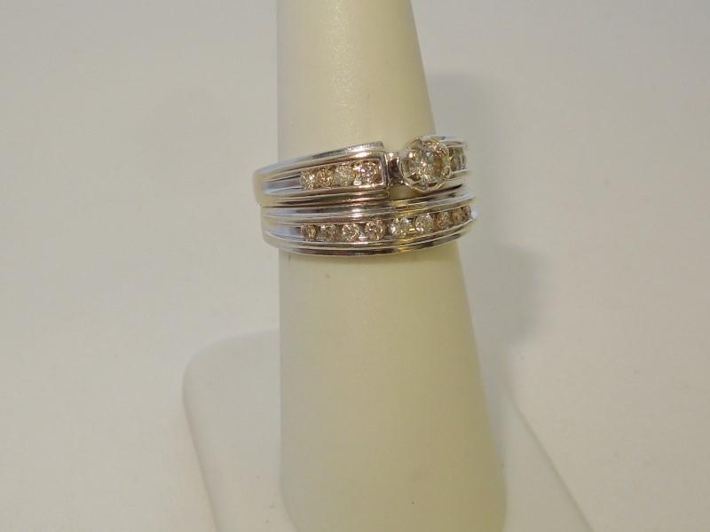 Lady's Diamond Wedding Set 18 Diamonds .49 Carat T.W. 14K White Gold 7.8g