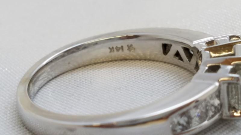 Lady's Diamond Engagement Ring 9 Diamonds .96 Carat T.W. 14K White Gold 4.9g
