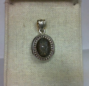 Synthetic Agate Silver-Stone Pendant 925 Silver 10.3g