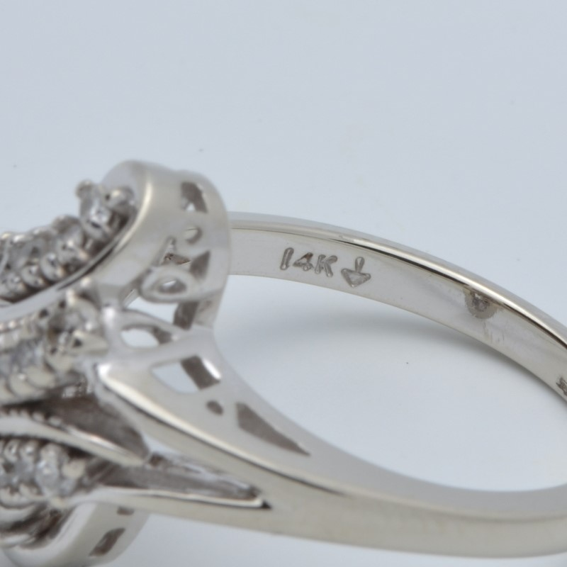 ESTATE DIAMOND RING SOLID 14K WHITE GOLD CLUSTER KNOT COCKTAIL 6.75