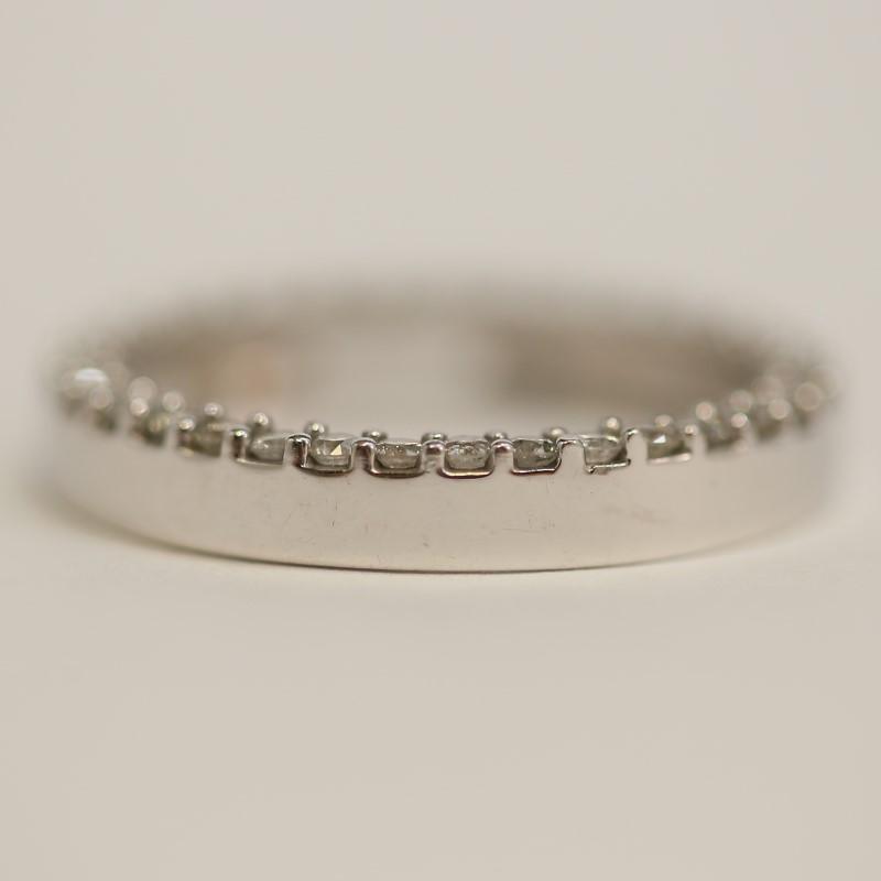 10K White Gold Pave Set Diamond Circular Round Slide Pendant