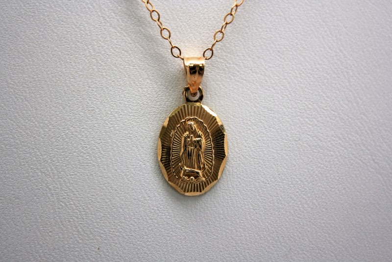 VIRGIN MARY PENDANT 14K YELLOW GOLD