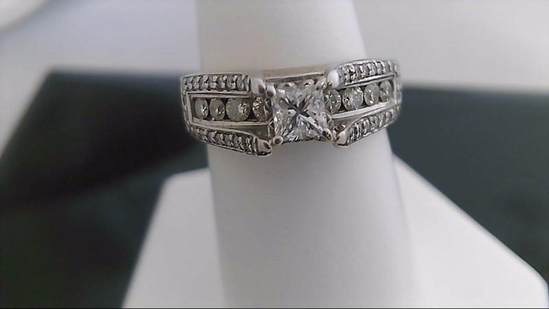 Lady's Diamond Engagement Ring 48 Diamonds 1.05 Carat T.W. 14K White Gold 6.5g