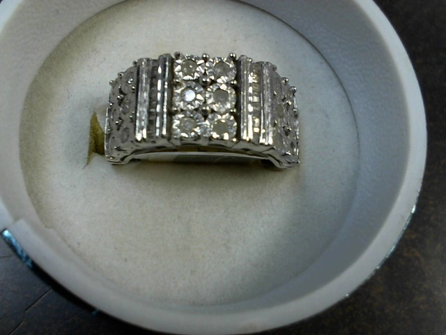 Lady's Silver-Diamond Ring 40 Diamonds .40 Carat T.W. 925 Silver 7g