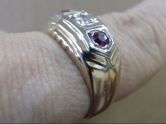 ESTATE DIAMOND RUBY 3 STONE RING BAND SOLID 14K YELLOW GOLD SIZE 9