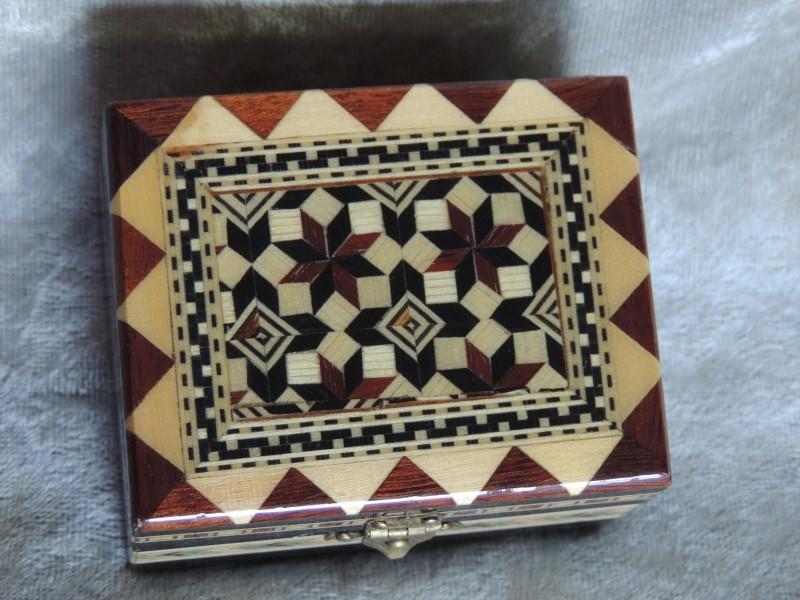 Wood Inlay Trinket Box Granada Por Roypasa Red Felt Lined