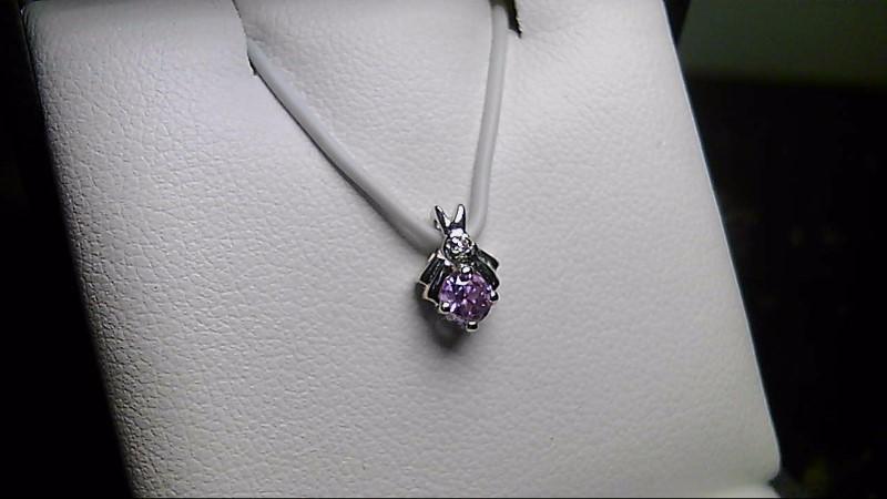 Pink Stone Gold-Diamond & Stone 14K White Gold Pendant