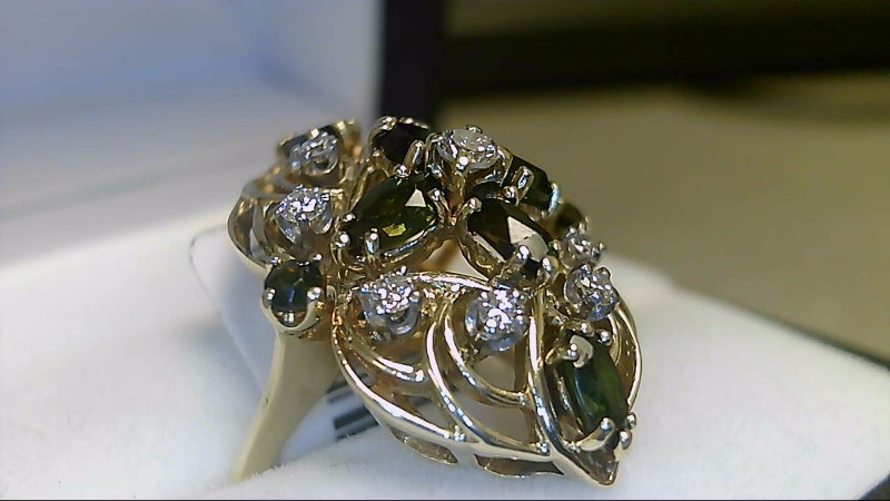 Green Tourmaline Lady's Stone & Diamond Ring 9 Diamonds .32 Carat T.W.