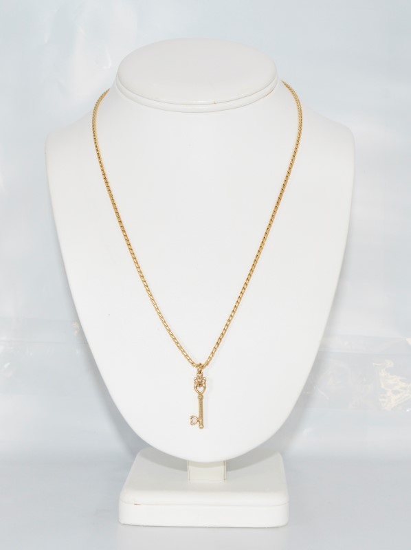 """14K Yellow Gold Key to My Heart Necklace w/ Crown on 20"""" Chain"""