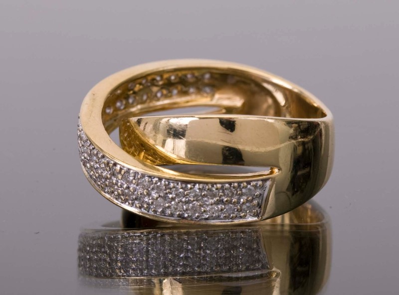 Lady's Diamond Fashion Ring 50 Diamonds .250 Carat T.W. 14K Yellow Gold 7g